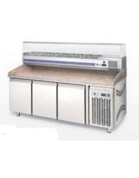 Meuble à pizza 4 portes 2500x800x1440mm avec vitrine à ingrédients (vitrée) capacité 12 x GN 1/3 - LUFRI
