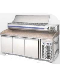 Meuble à pizza 4 portes 2500x800x1440mm avec vitrine à ingrédients (capot) capacité 12 x GN 1/3 - LUFRI