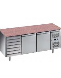 Tour pâtissier réfrigéré avec granit - 2 portes 600 x 400 - + 7 tiroirs