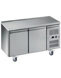 Table réfrigérée centrale positive inox - 2 portes - Profondeur 600