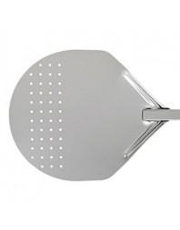 Pelle à pizzas tête ronde perforée - Modèle Vesuvio Silver - Ø 33 cm