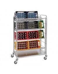 Chariot de transport de caisses de boissons avec 4 clayettes grillagées