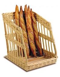 Présentoir à pain incliné osier blanc - 500 x 500 x 140/740 mm