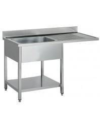 Plonge inox 1 bac spéciale lave-vaisselle passage droite- Différentes largeurs - P 700 mm - H 850 mm