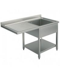 Plonge inox 1 bac spéciale lave-vaisselle passage gauche- Différentes largeurs - P 700 mm - H 850 mm