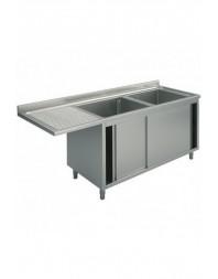 Plonge inox 2 bacs spéciale lave-vaisselle passage à gauche- sur placard - Plusieurs Largeurs - P 700 mm - H 850 mm