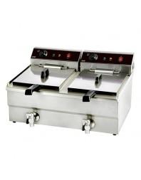 Friteuse électrique professionnelle avec robinet de vidange double 2 x 8 L - CARAT