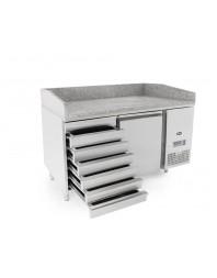 Table à pizzas tropicalisée 1 porte + 7 tiroirs à pâtons - 400 x 600 - 390 L