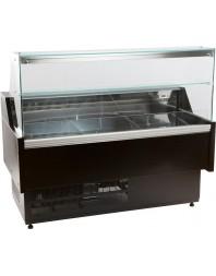 Comptoir vitrine réfrigérée à vitre droite 90° avec réserve - froid ventilé - +1°/+10°C - Gamme OSCAR