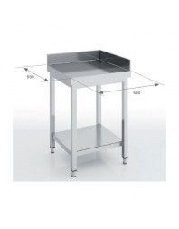 Table d'angle inox avec dosseret - 600 x 600 x 850 mm