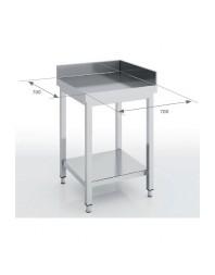 Table d'angle inox avec dosseret - 700 x 700 x 850 mm