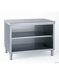 Meuble bas inox central ouvert sans portes - Profondeur 600 - Différentes dimensions