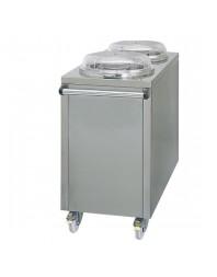 Chariot à distributeur d'assiettes chauffé pour 2 x 50 assiettes Ø260-320 mm