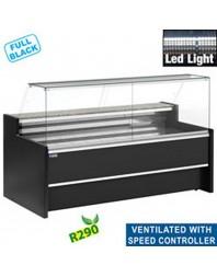 Comptoir vitrine réfrigéré à vitre droite 90° - Ventilé avec réserve - Différentes dimensions