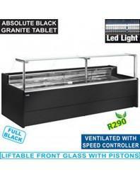 Comptoir vitrine réfrigéré à vitre droite 90° - Ventilé avec réserve - Gamme Venice Line - Différentes dimensions