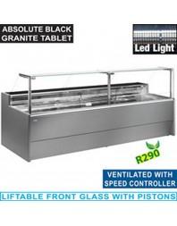 Comptoir vitrine réfrigéré gris à vitre droite 90° - Ventilé avec réserve - Gamme Venice Line - Différentes dimensions