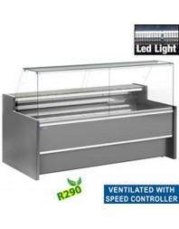 Comptoir vitrine réfrigéré gris à vitre droite 90° - Ventilé avec réserve - Différentes dimensions