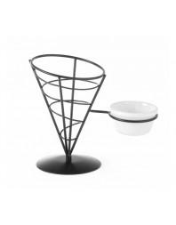 Support pour cornets de frites avec emplacement pour bol à sauce - 210 x 110 x 172 (h)mm