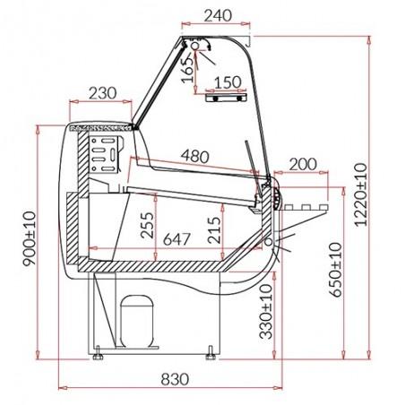 Vitrine comptoir réfrigérée de présentation - Froid ventilé - Gamme OSLO