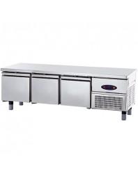 Soubassement réfrigéré - Froid positif - L 1800 mm - Prof 600 mm - 3 tiroirs