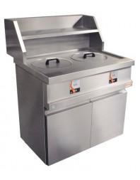 Friteuse à pot gaz sur coffre - 2 cuves ronde 13 litres - Commandes digitales