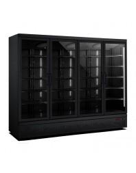 Armoire réfrigérée full black positive 0/+10°C - 4 portes vitrées battantes - 2025 litres