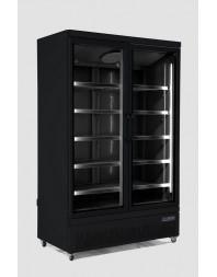 Armoire réfrigérée full black négative -18/-22°C - 2 portes vitrées battantes - 1000 litres