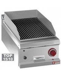 "Grill pierre de lave gaz simple - module 1/2, grille en fonte ""double face""-TOP-"