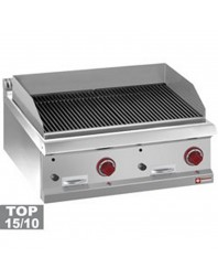 "Grill pierre de lave gaz simple - module 1/1, grille en fonte ""double face""-TOP-"