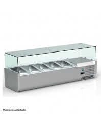 Vitrine réfrigérée pour 5 bacs GN 1/3 + 1 bac GN 1/2 de 150 mm - VRX120