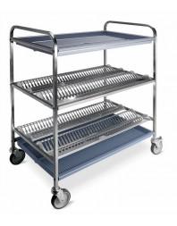 Chariot égouttoir à vaisselles et verres avec 2 niveaux - capacité 120 assiettes