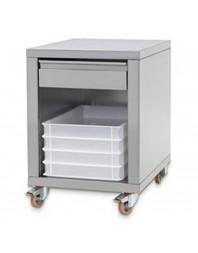 Support en inox + tiroir, sur roues, pour formeuses
