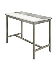 Table de découpe centrale mixte avant-arrière - AISI 304 - Avec ou Sans étagère - Prof 800 - Plusieurs dimensions de table