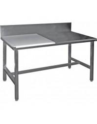 Table de découpe mixte cote à cote adossée - 1400 mm - Prof 600 - AISI 304