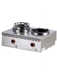 Wok professionnel de table gaz 2 brûleurs - gamme 600