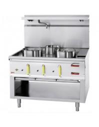 Fourneau wok professionnel gaz 3 brûleurs avec rideau d'eau - Série 900