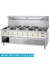 Fourneau wok professionnel gaz 7 brûleurs avec rideau d'eau - Série 900
