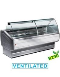 Comptoir vitrine réfrigérée à vitre bombée avec réserve- froid ventilé +0°/+2°C - Melody PLUS - DIAMOND