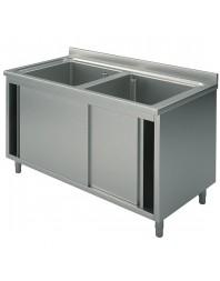 Plonge 2 bacs sur placard avec portes coulissantes - L 1300 x P 600