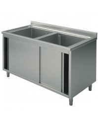 Plonge 2 bacs sur placard avec portes coulissantes - L 1600 x P 600