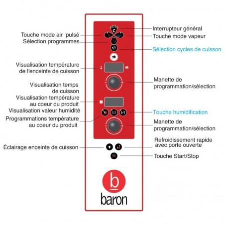 Four mixte électrique à injection de vapeur - 20 niveaux GN 1/1 - Version S - Baron