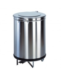 Poubelle ronde à pédale tout inox - 110 litres