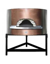 Four à pizza à bois avec façade en cuivre, sole ø 1300 mm, capacité 6/7 pizzas