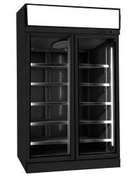 Armoire réfrigérée full black négative avec canopy -18/-22°C - 2 portes vitrées battantes - 1000 litres