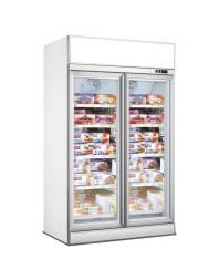 Armoire réfrigérée blanche négative avec canopy -18/-22°C - 2 portes vitrées battantes - 1000 litres