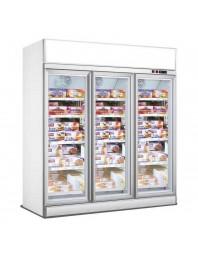 Armoire réfrigérée négative blanche positive avec canopy - 18/-22°C - 3 portes vitrées battantes - 1530 litres