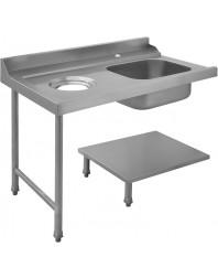 Table avec bac pour machines à capot panier 500 x 500 ou 600 x 500 -