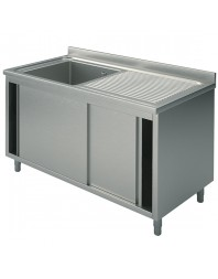 Plonge sur placard avec portes coulissantes 1 bac - Profondeur 600 mm - Hauteur 900 mm - Choix : 1200 ou 1400 mm