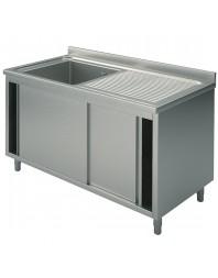 Plonge sur placard avec portes coulissantes 1 bac - Profondeur 700 mm - Hauteur 900 mm - Plusieurs dimensions possibles
