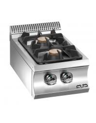 Réchaud à poser - 2 feux vifs - gaz - brûleurs 2 x 7 kW - MBM - Domina 700